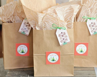 Camping Favor Tags/Camping Birthday Theme/Boys Camping Birthday Party/Camping Favor Tags/Camp Out/Happy Trails/Favor Tags/Personalized