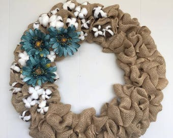 Teal, Gerbera Daisy, Cotton Stem, Circle, Multiple size, Burlap Wreath