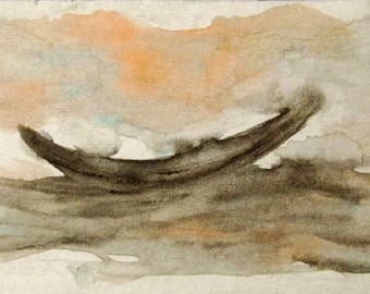 Boat on Sea Painting Original Watercolor on Paper,, Sea painting, Small painting