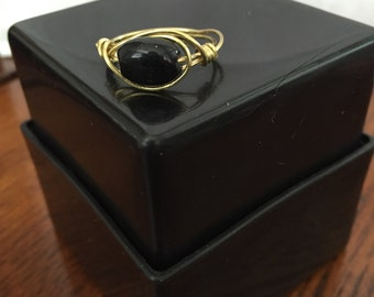 FREE SHIPPING! Black/Gold Ring Wire Wrapped - Size 10.5