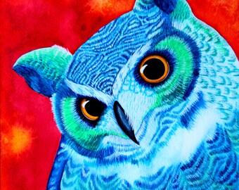 Great Horned Owl Painting Original Watercolor Owl Painting Owl Watercolor Bird Colorful Owl Wall Art Wildlife Painting Bird Painting