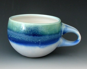 BLUE CERAMIC CUP #7 - Blue Coffee Cup - Cappuccino Cup - Blue Ceramic Cup - Pottery Cup - Studio Pottery