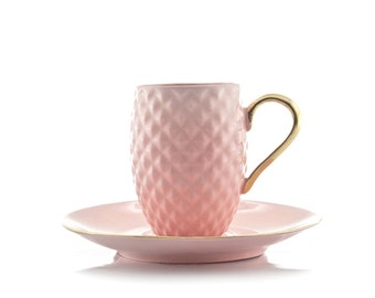 Pink Coffee Cup with gold handle, Pineapple Cup, Espresso Cup, Porcelain Coffee Cup