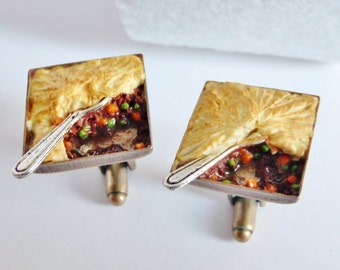 Shepherd's Pie Cufflinks - Pub Food Cufflinks - Miniature Food Art Jewelry - Schickie Mickie Original 100% handmade