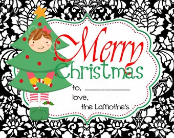 Square Stickers/labels for Holiday Gift Giving- red, green, black, white