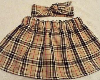 Beige tartan skirt and headband set head band hair wrap scarf bandana head wrap knot bow baby, toddler or girls