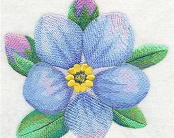 Embroidered Forget Me Not Fingertip Towel