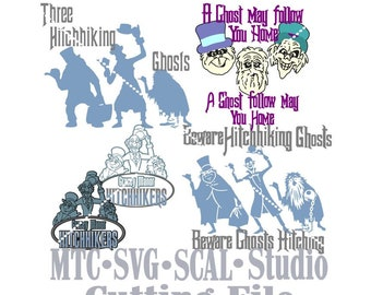 SVG Cut File Bundle Hitchhiking Ghosts with Quotes  MTC SCAL Cricut Silhouette Cutting File