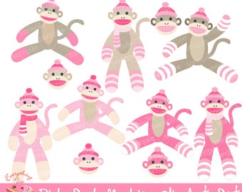 Pink Sock Monkeys Clip Art Set