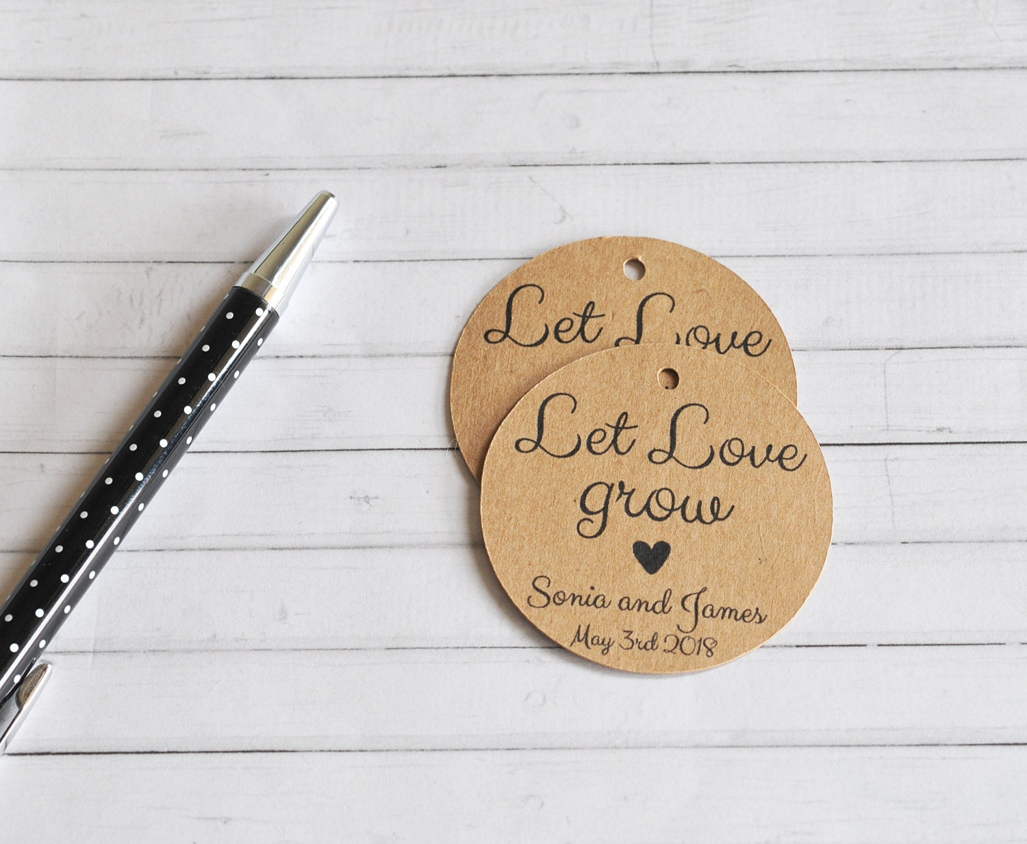 Let Love Grow, Personalised Wedding Favor Tag, Wedding Gift Tag ...