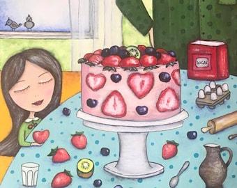 Baking cake for mom