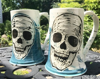 Skull with Barbed Wire - Day of the Dead Beer Mug, Stein - Blue, White & Black