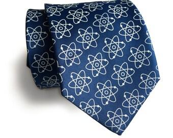 Atomic Necktie. Atoms print science tie: Nucleus, electron model. Molecular biology, nuclear medicine, atomic energy gift. 100% silk tie.