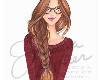 Braid Envy Fashion Illustration Art Print / Fashion Illustration Sketch, Fashion Sketch Art, Fashion Art Print, Fashion Wall Art, Beauty
