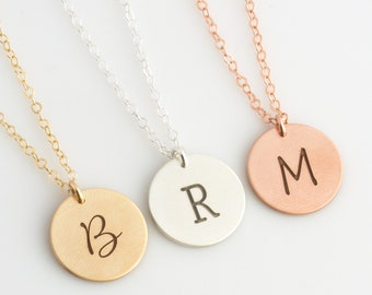Personalized Disc Necklace, Gold Initial Necklace, Engraved Initial Necklace, 14K Gold Fill, Mothers Day Gift, Gift for Her,LEILAJewelryShop