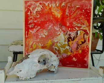 Red Flesh Marble Painting