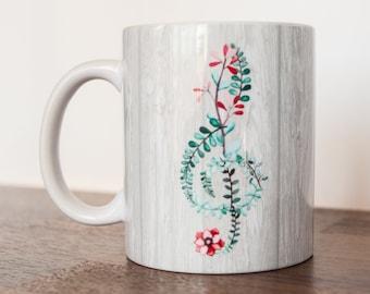 Floral sol tasse musicien café tasse 11 oz