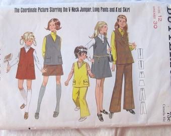 vintage Girls' BUTTERICK pattern 5380 jumper, top, pants and skirt--  Girls size 12