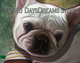 Adorable White Frenchie with Coffee Cup, Starbarks, Coffee and Frenchie Lovers