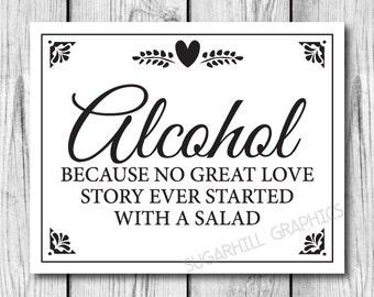 Printable Wedding Sign, Wedding Alcohol Sign, Wedding Decor, Wedding Signage, Instant Download