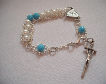 White and Light Blue Immaculate Heart Glass Rosary Bracelet