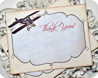 Vintage Airplane Thank You Cards (10) Aviation Thank You-Aviation Party-Airplane Party-Airplane Birthday-Airplane Baby Shower-Flying Party