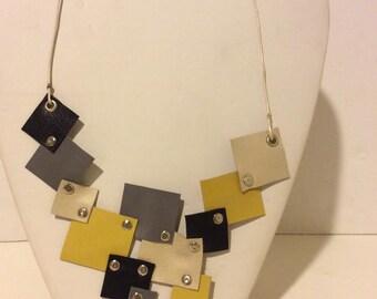 Grey yellow cream black short leather mosaic necklace