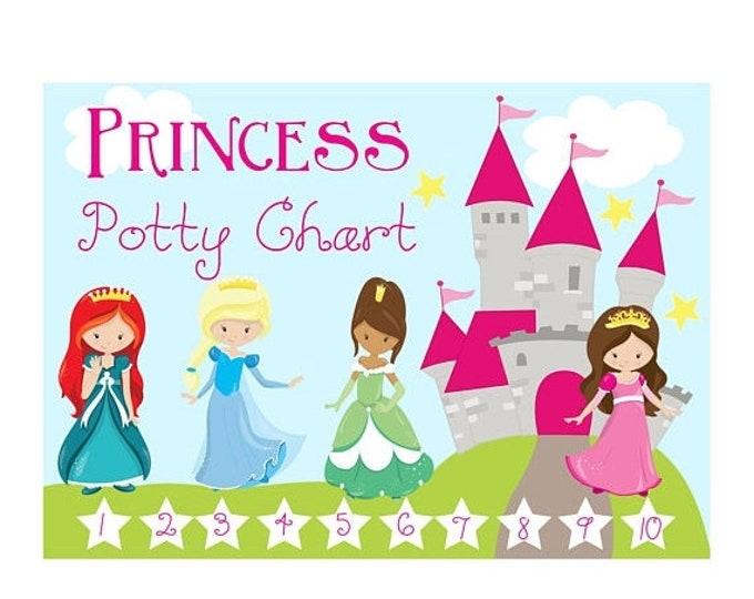 Sale Princess Potty Chart - Reward Chart - Reward System - Family Organization - Preschool - Printable Potty Chart