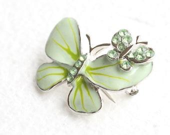 Green Butterfly Brooch Vintage Enamel Figural Pin Rhinestone Silver