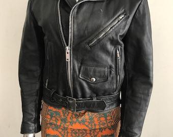 Black leather jacket , woman motorcycle leather jacket size medium .
