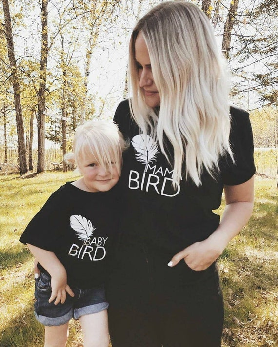 2 Piece SET, Black, Mama Bird + Baby Bird Set, Black Ink, Mommy and Me T, Mama Bird, Baby Bird, Mommy T, Mama Bird Tee, Mama Bird Set
