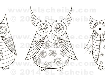 owl digital stamp, whimsical owls coloring page, cute owls adult colouring, instant download, digistamp
