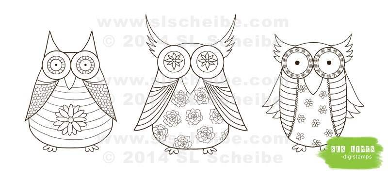 Owl Digital Stamp Whimsical Owls Coloring Page Cute