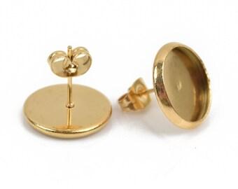 10 gold stainless steel cabochon bezel setting earring post fits 12mm round inside bezel, fin0669