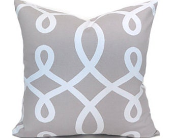 Pillow Covers ANY SIZE Decorative Pillow Cover Grey Pillow Duralee Loop de Loop Smoke