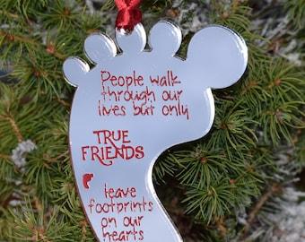 True Friends Footprint Quote hanging Christmas Tree Dec