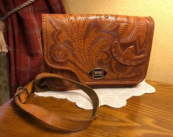 Vintage Handmade Hand-Tooled Genuine Leather Shoulder Bag/Purse with Mirror