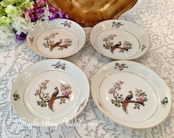 4 Coupe Soup Bowls - Bird of Paradise -H & Co HEINRICH, Selb Bavaria Germany (US Zone) c 1940s