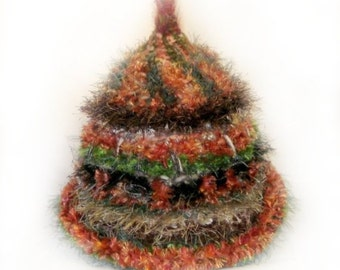 CUSTOM ORDER Winter Snow Wear Hat  Autumnal Colours Fall Colors Spiral  Crochet Freeform Hat