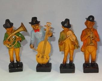 4 MUSICIANS BAND VINTAGE Plastic Figures Set Trumpet Violin