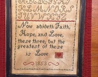 Primitive Valentine 1853 Sampler Repro