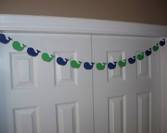Whale Garland - Navy Blue and Kelly Green Cardstock Paper - Baby Shower Decor - Wall decoration - short or long - Birthday Party Decoration