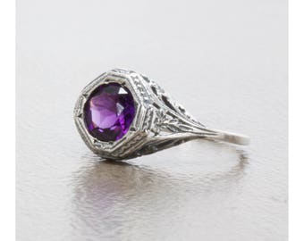 Filigree Natural Amethyst Art Deco Style Ring in Sterling Silver