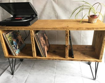 Rustic records player unit/recors storage/console table/media storage/tv stand