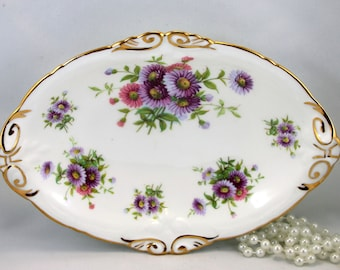 Hammersley, Oval Dish,Plate, Floral Pattern, Gold Rims, Bone English China made in 1960s