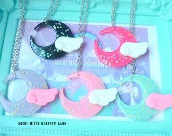 SALE! Resin Winged Moon Stars Necklace or Keyring