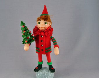 Polymer Clay Christmas Elf Art Doll figurine