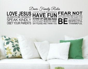 Family Rules Decal - Christian Family Rules Decal - Custom Family Rules Decal - Family Room Wall Art - Living Room Decor - Christian Decor
