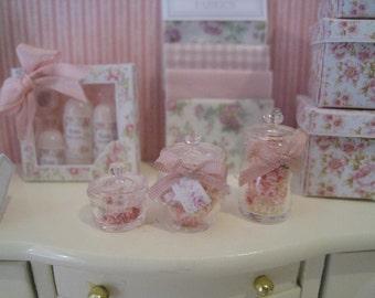 1:12 Dollhouse BATH SALTS. Handmade dollhouse bath salts. 1 inch scale bath salts for dollhouse.