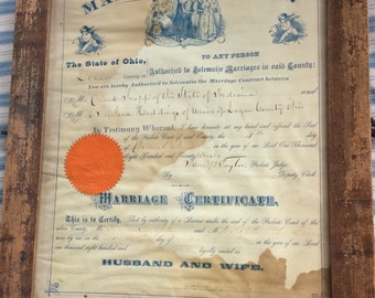 ANTIQUE MARRIAGE CERTIFICATE, 1871 vintage marriage license, framed, hand writing, cherubs